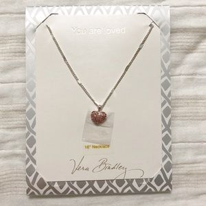 NWT Vera Bradley Pink Gem Heart Necklace Gift